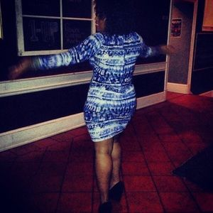 Blue Abstract Zipper Back Dress